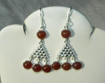 """Orange Carnelian Earrings Orange Semiprecious Gemstone Handmade 2"""" Sterling Silver Earrings Take 20% Off Women's Orange Carnelian Jewelry"""