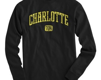 LS Charlotte 704 Tee - Long Sleeve T-shirt - Men and Kids - S M L XL 2x 3x 4x - Charlotte Shirt, North Carolina - 4 Colors