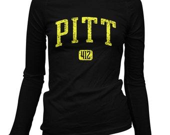 Women's Pitt 412 Pittsburgh Long Sleeve Tee - S M L XL 2x - Ladies' Pittsburgh T-shirt, Steel City, Pennsylvania - 3 Colors