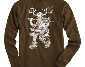 LS Lumbering Jack Tee - Long Sleeve T-shirt - Men S M L XL 2x 3x 4x - Lumberjack Shirt, Woodsman, Fantasy, Forest, Hunting - 3 Colors