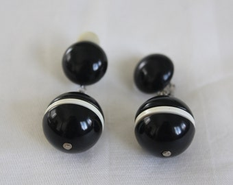 Vintage Black and White 1950s earrings