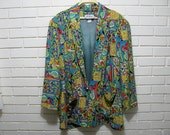 80's  Neon abstract design slouch jacket oversize 14