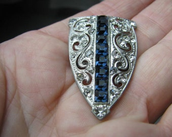 Vtg Art Deco rhinestone belt buckle with square cut blue sapphires