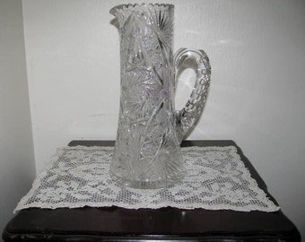 Vintage XL cut glass pitcher '' jug ''