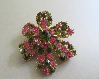 Mod Rhinestone Flower Pin Brooch Lisner Pink and Olive Green 1960's Vintage Signed Costume Jewelry Mad Men MoonlightMartini