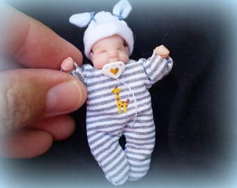 OOak miniature baby boy for Dollhouse 1:12 scale