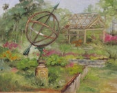 Garden scene with Armillary, Garden Scene in Oils, Flower garden in oils, Framed Garden Painting, Original painting Garden, Cottage garden