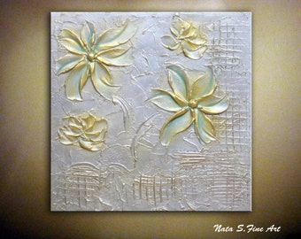 """Abstract Metallic Flower Painting Palette Knife Textured Silver Gold Artwork Small Canvas 12"""" x 12"""" Modern Wall Decor by Nata S."""