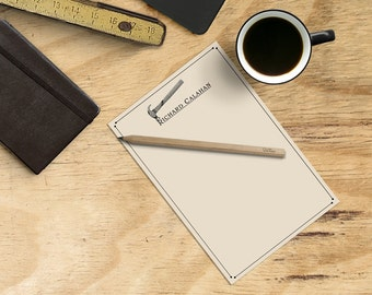 Hammer Personalized Notepad - Note Pad with Name, Custom Mens Stationery, Vintage Tools - Gift for Carpenter, Contractor, Stocking Stuffer