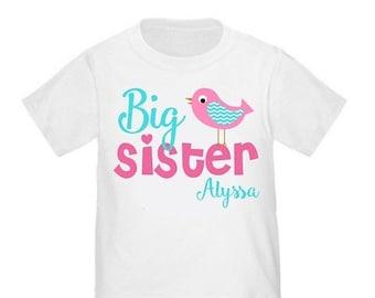 ON SALE Big Sister Bird Pink Personalized Big Sister tshirt