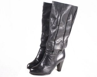 80s Tall Black Leather Slouchy Boots / Size 5