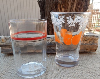 1950's Juice Glasses  ~  4 Ounce Juice Glasses  ~  Ribbed Juice Glass  ~  Juice Glass with Oranges