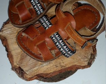 Upcycled leather baby sandals