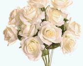 """New Artificial Silk Ivory Rose Bush, 12 Royal Roses 3.5"""" in diameter."""