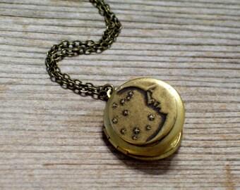 Moon and Stars Locket, Art Deco Celestial Locket, Golden Brass Round Locket Necklace, Brass Pendant Necklace, Moon Stars Jewelry