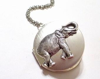 Silver Elephant Locket, Safari Locket, Large Round Silver Locket, Elephant Jewelry, Pachyderm Pendant, Silver Pendant Necklace