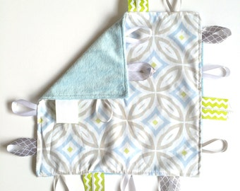Gray Rings - Baby Boy Toy + tag lovey sensory security blanket with blue minky