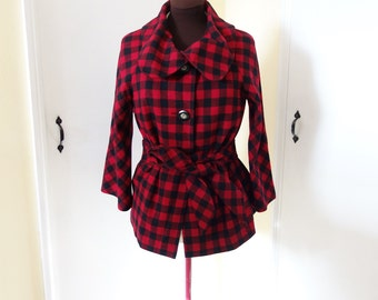 Wool Pendleton Red Black Check Gingham Button Front Jacket Coat Small Medium
