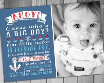 Boy Birthday Invitation Nautical Birthday Sailor Birthday Boy First Birthday invitation Printable Birthday Photo Birthday Invitation
