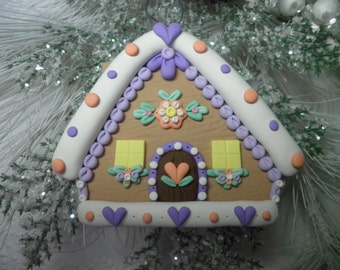 Gingerbread House, Year Round Ornament, Home Decor, Gingerbread House Gift, Clay Gingerbread House