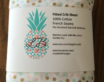 peach mint and gold dots fitted crib sheet