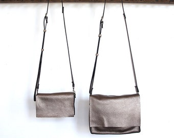 Messenger Bag - Two sizes - Italian Leather - Bronze