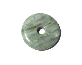 Stone Donut Pendant, 40mm Natural Green Marble, Light Green, Stone Donut, Beading Supplies, Green Stone Donut, Focal Donut Pendant