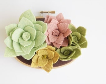 Felt Succulent, Wall Art, Succulent Garden, Green and Pink, Garden Lover Gift, Faux Plant, Wall Garden, Fake Foliage, Catshy Crafts
