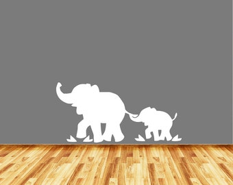 WALL - Elephant Mom and Baby - No Tree - LARGE - Wall or Door Vinyl Decal - Yadda-Yadda Design Co. (Color and Size Variations Available)