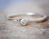 Silver and diamond ring, genuine diamond, conflict free, fine silver, diamond engagement ring, promise ring