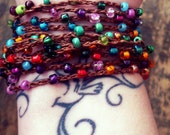 This side of the Rainbow: Versatile crocheted necklace / bracelet / belt / headband