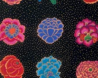 Large Multi Color individual Florals Corsage print on Black. A Kaffe Fassett fabric for Rowan Westminster