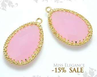 2pcs Mint Pink Teardrop Frame Faceted Glass, Pendants, beads, Gold Plated, Wedding Bridal Jewelry Making // G16N-065-BG