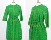 Vintage MARIMEKKO 1963 Design Research Green Floral Linen Dress / Size Medium Large