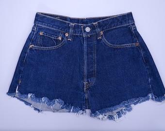 60s Levis BIG E Redline 501 Single Stitch Dark Indigo Denim Black Bar Cut off Jean Shorts W 28