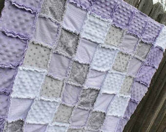 Custom Crib rag quilt and matching bedskirt for Maureen!