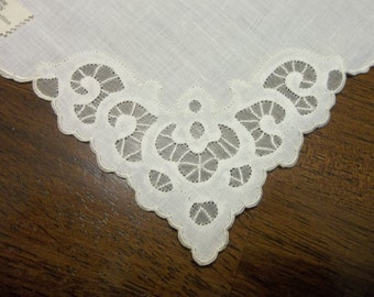 """6 Vintage MADEIRA Linen & Organdy Napkins...13"""" Square...new Old Stock...Perfect Condition"""
