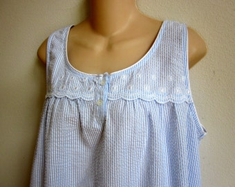 Miss Elaine cotton nightgown loose cool & cute side pockets  L large