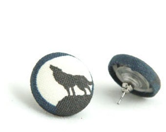 Wolf Howling at the Moon Earrings
