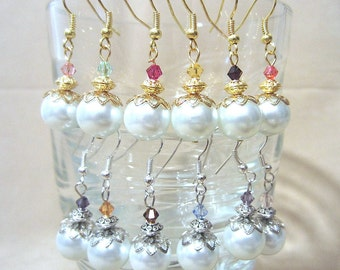 White Pearl & Accent Crystal Dangle Wedding Earrings in Gold or Silver, Handmade Original Fashion Jewelry, Elegant Classic Custom Bridesmaid