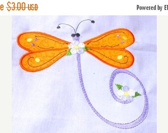 50% OFF SALE Dragonfly Applique Machine Embroidery Design 2 - 5x7