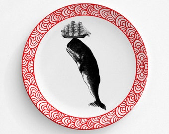 """Whale Of A Tail Fish Plate, Melamine Plate, Kitchen, decorative plate, gift, Dinner Plate, 10"""" plate, Picnic"""