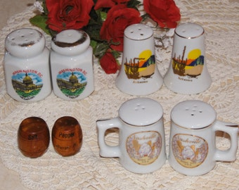 4 collectible states / city vintage salt and pepper sets - Washington DC, Arizona, Fargo N. Dakota, Nashville