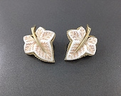 Vintage Thermoset Avon of Belleville Earrings, White Thermoset Leaf Jewelry, Wedding Bride Earrings