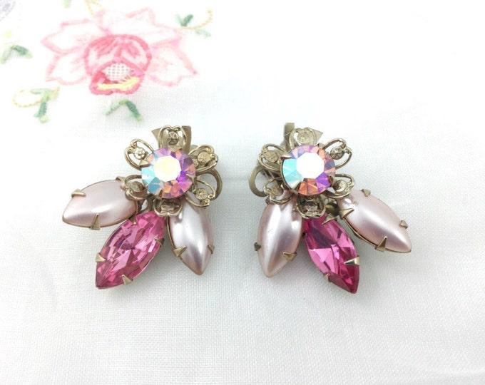 Pretty Vintage Pink Rhinestone Earrings. Pink Pearly Sparkly Designer Earrings. Rhinestone Clip ons. Pink Orange surora borealis earrings.