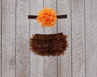 Thanksgiving Baby Girl Ruffle Bottom Bloomer & Headband Set in Brown and Orange - Newborn Photo Set - Infant Bloomers - Diaper Cover