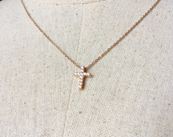 Crystal Cross Necklace in Rose Gold,Cross Necklace, Dainty Necklace