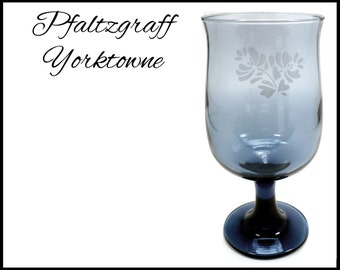 Pfaltzgraff Yorktowne Stemware, Blue Gray Wine Glasses, 1960s Water Glass, Replacement Goblet, Tall Blue Stemware, Gift for Collector