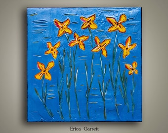Small Abstract Painting - 12x12 - Blue and Gold Flowers with Green Stems - Abstract Canvas Art - Flower Art