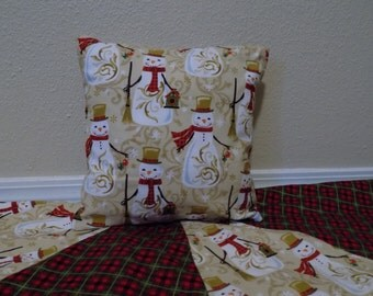 Christmas Pillow Cover, Snowman pillow cover, plaid scarf, nursery pillow cover, Holiday Pillow Cover